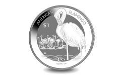 2021 British Virgin Islands $1 1-oz Silver Flamingo Reverse Frosted BU