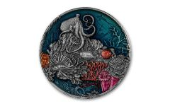 2021 Niue $5 2-oz Silver Coral Reef High Relief Colorized Antiqued Coin Gem BU