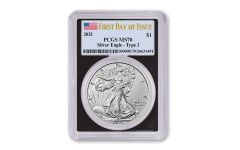 2021 $1 1oz Silver Eagle T2 PCGS MS70 First Day of Issue Black Frame Flag Label