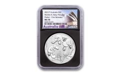 2021 Australia $2 2-oz Silver Mother & Baby Platypus Piedfort NGC MS70 First Releases w/ Black Core