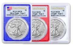 3 Piece 2021 $1 1oz Silver Eagle T2 PCGS MS70 First Strike Red, White, & Blue Frame Flag Label Set