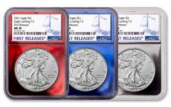 3 Piece 2021 $1 1oz Silver Eagle T2 NGC MS70 FDI Patriotic Foil Core Set