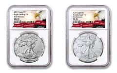 2021 $1 1-oz Silver Eagle Type 1 & Type 2 NGC MS70 First Releases 2-pc Set w/Eagle Label
