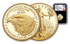 2021-W $10 1/4-oz Gold Eagle Type 2 Proof NGC PF70UC First Day of Issue w/Black Core & Mercanti Signature