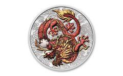 2021 Australia $1 1-oz Silver Dragon Colorized BU