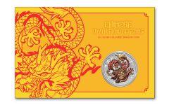 2021 Australia $1 1-oz Silver Dragon Colorized BU w/Collector Card