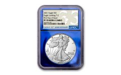 2021-W $1 1-oz Silver Eagle Type 2 Proof NGC PF70UC First Day of Issue w/Blue Foil Core & 35th Anniversary Label