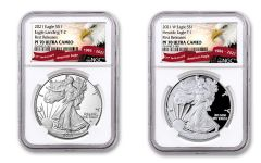 2021-W $1 1-oz Silver Eagle Type 1 & Type 2 NGC PF70UC First Releases 2-pc Set w/Eagle Label