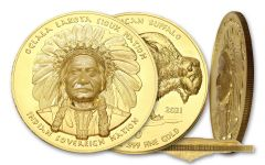2021 Oglala Sioux $50 1-oz Gold Sitting Bull Ultra High Relief Coin