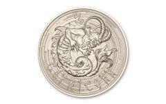 Intaglio Mint 1 oz Silver Zombie Zodiac Capricorn Medal GEM BU