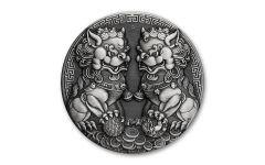 2021 Australia $2 2-oz Silver Double Pixiu Antiqued Coin