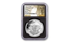 2021 Somalia 1 oz Silver Elephant Sh100 Coin NGC MS70 FR Black Core Exclusive African Elephant Label