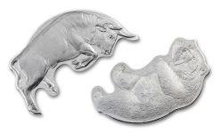 2021 Solomon Islands 2 x 1-oz Silver Bull vs. Bear 2-Coin Set