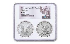 2021 $1 1-oz Silver Eagle Type 1 & Type 2 NGC MS69 BU 2-pc Set w/Reverse Label & 2-Coin Holder
