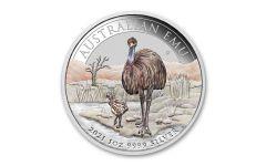 2021 Australia $1 1-oz Silver Melbourne ADNA Expo Emu Colorized Coin BU