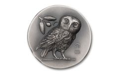 2021 Cook Islands $5 1-oz Silver Numismatic Icons: Athenian Owl Ultra High Relief Antiqued Coin Gem BU