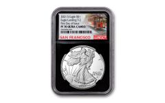 2021-S $1 1-oz Silver Eagle Type 2 Proof NGC PF70UC First Day of Issue w/Black Core & Cable Car Label