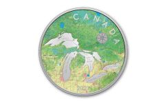 2021 Canada $50 5-oz Silver Great Lakes Tribute Colorized Proof