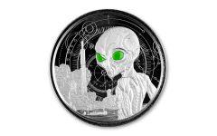 2021 Ghana $5 1-oz Silver Alien Gem Proof w/Glow-In-The-Dark Accents