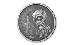 2021 Ghana $5 1-oz Silver Alien Antiqued Gem BU