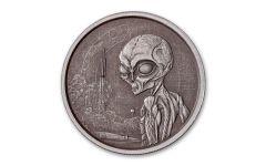 2021 Ghana 5 Cedis 1-oz Silver Alien Antiqued Gem BU
