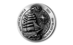 2021 Rwanda 50 Francs 1-oz Silver Nautical Sedov High Relief Antiqued Gem BU