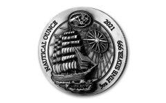 2021 Rwanda 1000 Francs 3-oz Silver Nautical Sedov High Relief Antiqued Gem BU