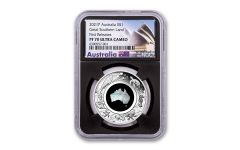 Australia 2021 $1 1-oz Silver Great Southern Land Mother of Pearl NGC PF70 First Release Black Core w/ Opera House Label
