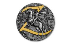 Niue 2021 Zorro High Relief 2 oz Silver Gilt Antiqued $5 Coin GEM BU OGP