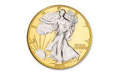 2021 $1 1-oz Type 2 Silver Eagle BU w/24-Kt Gold Clad Background