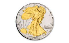 2021 $1 1-oz Type 2 Silver Eagle BU w/24-Karat Gold Clad Liberty