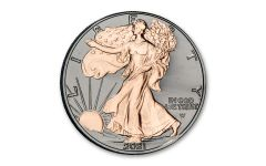 2021 $1 1-oz Type 2 Silver Eagle BU w/Black Ruthenium & Rose Gold