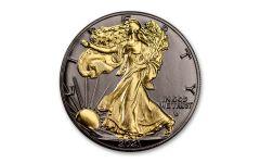 2021 $1 1-oz Type 2 Silver Eagle BU w/Black Ruthenium & 24-Karat Gold