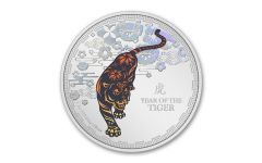 Niue 2022 Lunar Year of the Tiger 1 oz Silver Colorized Proof $2 Coin GEM Proof OGP