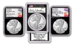 2021-S $1 1-oz Silver Eagle Type 2 Proof NGC-PCGS PF70UC-PR70DCAM First Day of Issue 3-pc Set w/Black Core & Gaudioso, Damstra & Mercanti Signatures