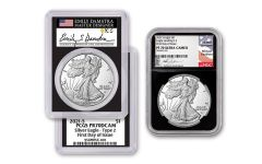 2021-S $1 1-oz Silver Eagle Type 2 Proof NGC-PCGS PF70UC-PR70DCAM First Day of Issue 2-pc Set w/Black Core & Gaudioso & Damstra Signatures