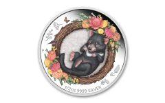 2021 Australia 50₵ 1/2-oz Silver Tasmanian Devil Dreaming Down Under Colorized Proof