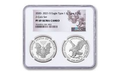 2020–2021-S $1 1-oz Silver Eagle Type 1 & Type 2 Proof 2-pc Set NGC PF69UC w/Reverse Labels & 2-Coin Holder