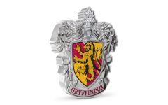 2021 Niue $2 1-oz Silver Harry Potter Gryffindor Crest Shaped Colorized Gem Proof