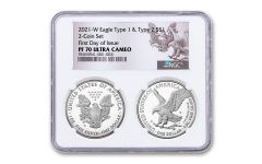 2pc 2021-W $1 1oz Silver Eagle Type 1 & Type 2 NGC PF70UC First Day of Issue ASE Reverse Label 2-Coin Holder