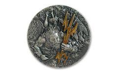 Niue 2021 $2 2oz Silver Gods Series - Zeus HR Gold Gilding GEM BU Antiqued OGP