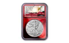 2021-W $1 1-OZ BURNISHED SILVER EAGLE T2 NGC MS70 First Day of Issue Exclusive Eagle Label Red Foil Core