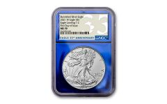 2021-W $1 1-OZ BURNISHED SILVER EAGLE T2 NGC MS70 First Day of Issue 35th Anniversary Label Blue Foil Core
