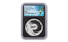 Tuvalu 2022 $1 1-oz Silver James Bond NGC MS70 First Release Black Core w/ Pacific Rim Label