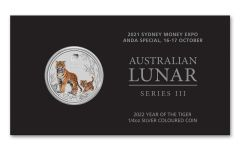 Australia 2022 25c 1/4oz Silver Year of the Tiger ANDA Sydney Money Expo Colorized Uncirculated
