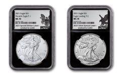 2021 $1 1-oz Silver Eagle Type 1 & Type 2 NGC MS70 2-pc Set w/Black Core & .999 Silver Labels