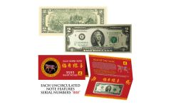 2022 $2 Jefferson Triple 888s Lunar Year of the Tiger Currency Note