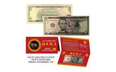 2022 $5 Lincoln Double 88s Lunar Year of the Tiger Currency Note