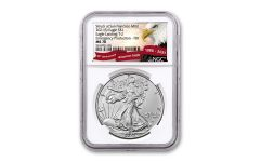 2021(S) $1 1-oz Type 2 Silver Eagle Struck At San Francisco Emergency Production NGC MS70 First Day of Issue w/Eagle Label