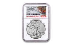 2021(S) $1 1-oz Silver Type 2 Eagle Struck At San Francisco Emergency Production NGC MS70 First Day of Issue w/Trolley Label